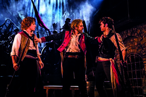 Ashley Gilmour as Enjolras, Jon Robyns as Jean Valjean & Harry Apps as Marius in Les Miserables Photo Johan Persson