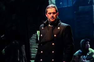 Bradley Jaden as Javert in Les Misérables – Photograph Johan Persson