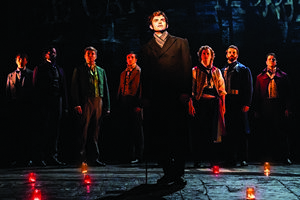 Harry Apps as Marius and Company in Les Misérables – Photograph Johan Persson