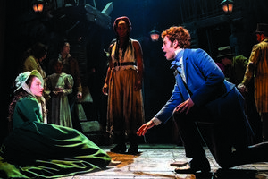 Lily Kerhoas as Cosette, Harry Apps as Marius and Shan Ako as Eponine in Les Misérables – Photograph Johan Persson
