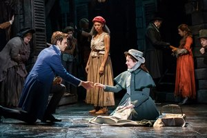 Harry Apps 'Marius', Tegan Bannister 'Eponine' and Bronwen Hanson 'Cosette'. Photo Helen Maybanks